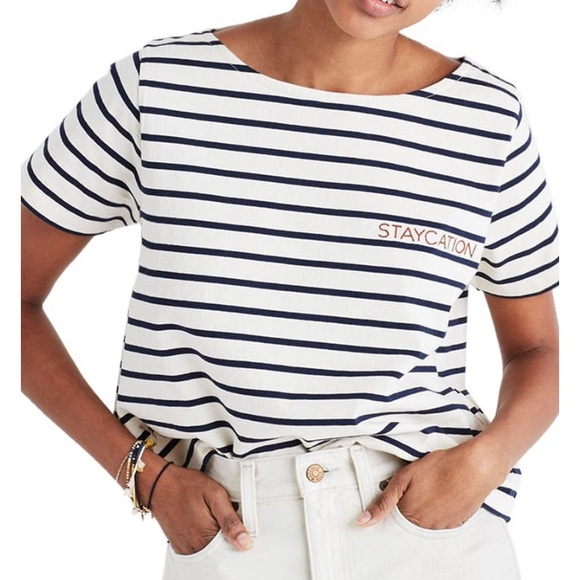 "Madewell Tops - Boxy crop ""staycation"" tee"